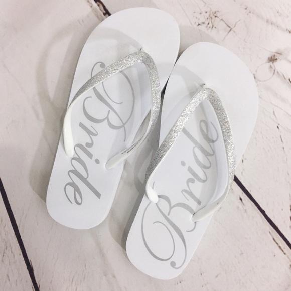 dcfd4b2f29b4 Bride Wedding Silver Sparkle Beach Flip Flops. M 5abfb5563b160853768309c3
